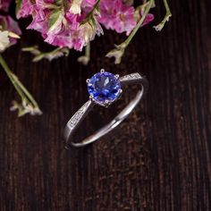 Antique Tanzanite Engagement Ring White Gold Solitaire Ring Diamond Minimalist Anniversary Promise B Tanzanite Engagement Ring, Cushion Cut Engagement Ring, Diamond Engagement Rings, Tanzanite Rings, Gold Solitaire Ring, White Gold Wedding Rings, Eternity Ring, Antique, Etsy