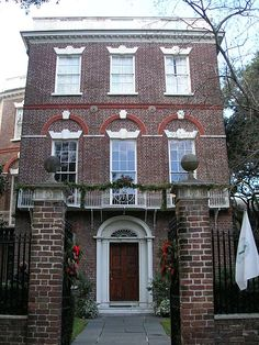 Nathaniel Russell House ~ 1809 ~ Widely recognized as one of America's most important neoclassical houses. It features three important geometric designs: a front rectangular room, a central oval room, and a rear square room. Other rooms include a First Floor turquoise Dining Room and a Second Floor Drawing Room. The house features an ellipitcal spiral staircase which ascends three floors. Historical Charleston Foundation offices are here in this house museum that offers tours and a gift…