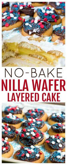 This No-Bake Layered NILLA Wafer Cake, isn't a cake by tradition standards. Make it by layering NILLA Wafer, pudding, and whipped topping, then top it with chocolate frosting! It's a perfect dessert…More Mini Desserts, Party Desserts, Sweet Desserts, Delicious Desserts, Yummy Treats, Oreo Dessert, Vanilla Wafer Dessert, Healthy Cake Recipes, Baking Recipes