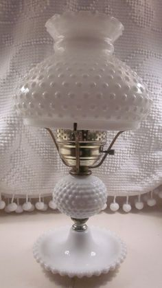 Large Fenton Hobnail Milk Glass Lamp 1950's  1960's by PixieKissed, $34.95