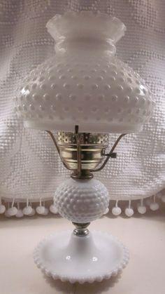 Large Fenton Hobnail Milk Glass Lamp 1950's - 1960's