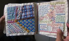 Million Little Stitches: Crazy Quilt Journal Project 2012 Embroidery Sampler, Hand Embroidery Stitches, Embroidery Techniques, Embroidery Patterns, Embroidery Books, Fabric Art, Fabric Crafts, Fabric Books, Crazy Quilt Blocks