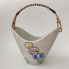 50er Keramik Körbchen Schale STEULER Vintage West German Pottery WGP Rockabilly