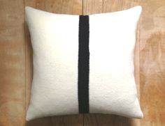 RESERVED Pillow - Pendleton Wool Fabric ... Black White Stripe, 18x18
