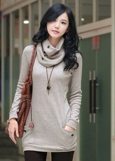 Vogue Comfy Round Neck with Scarf Fitted Sweater - love all of the button accents.