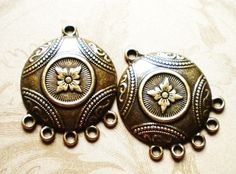 $1.18 PER PAIR ~~ Earring Findings Ornate Chandeliers 4 Jewelry supply antique bronze metal