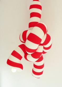 Knooplamp rood/wit streep | Annebet Philips