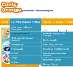 Curly Orange's new menu enables to select videos by the morals you want your child to learn. See the options available only at curly orange.