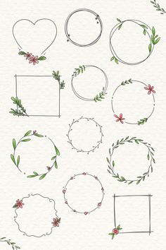 Xmas illustration by Rudolph Hirsch with blank paper for your text Doodle Frames, Doodle Art Letters, Free Doodles, Simple Doodles, Bullet Journal Art, Bullet Journal Inspiration, Square Wreath, Floral Doodle, Valentines Day Messages
