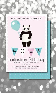 Such a gorgeous Panda Bear Birthday Invitation.  Invite all of your friends to your Panda Party with this pretty Panda Invite.  It comes as a digital file which is printable.  Print as many times as you want