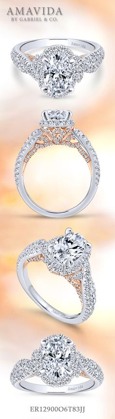 Amavida by Gabriel & Co. - Voted #1 Most Preferred Bridal Brand.    This oval cut halo engagement ring is encrusted with sparkling diamonds and detailed with rose gold.