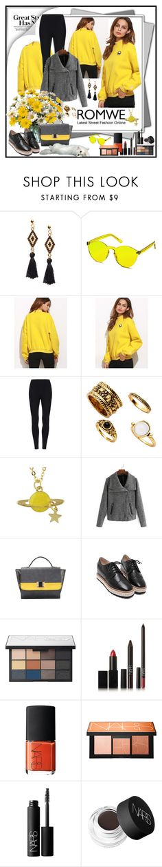 """""""ROMWE  -  Yellow Sweatshirt"""" by fantasiegirl ❤ liked on Polyvore featuring Concord and NARS Cosmetics"""