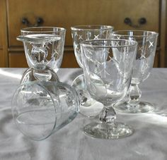 Vintage, Libbey/Rock Sharpe Stardust, Atomic, Crosscut Wine Glasses, Water Goblets, Set of 6 Starburst Barware
