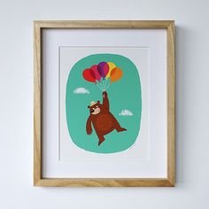 Image of Bear with Balloons - Nursery Art Print