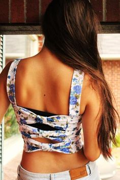via Tumblr. The back of this shirt is so cute, like with high waisted shorts or high waisted skirt