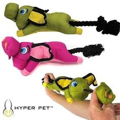 Flying Pig Dog Fetch Toy Sling Shot Action Rope Nylon Interactive By Hyper-pet