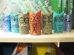 A parliament of owls (toilet paper rolls).