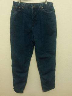 """L L Bean Womens Lined Jeans Size 18 Tall  31"""" Inseam Blue Denim Pants  #LLBean #StraightLeg"""