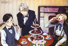 Yuri!!! on Ice (ユーリ!!! on ICE) Victor shares his secret chocolate sweet spot with Yuuri and Yurio in the latest poster art from Animedia Magazine (Amazon US | Japan), illustrated by key animator Mariko Fujita (藤田まり子).