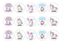Edible cupcake toppers with cute birthday unicorns in a rainbow kawaii design - rice paper or icing. Perfect cake decoration for a girls birthday party with a unicorn theme. All products are 100% edible and easy to use. Suitable for use as cocktail toppers and ice cream decs. Next day delivery available - buy now!