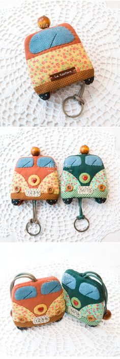 [캠핑카 키홀더 (주황색)] Key Bag, Key Pouch, Pochette Diy, Quilt Patterns, Sewing Patterns, Sewing Crafts, Sewing Projects, Diy Keychain, Keychains