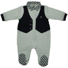 Armani Junior Baby Boys Waistcoat Design White Babygrow