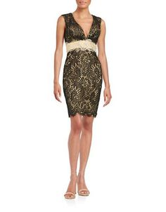 M By Mac Duggal Embellished Lace Sheath Dress Women's Black/Nude 4