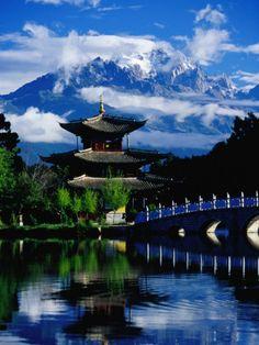 Pagoda Reflected in Black Dragon Pool in Front of Jade Dragon Snow Mountain, Lijiang, China Photographic Print