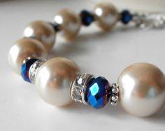 Blue Earrings Royal Blue Faceted Glass Bead by FiveLittleGems