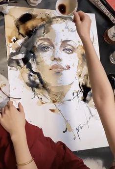 Watercolor Art Lessons, Watercolor Paintings, Watercolors, Grafic Art, Coffee Painting, Painting People, Portrait Art, Canvas Art, Drawings