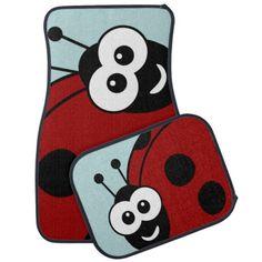 Cute Happy #Ladybugs Car Mat. Created by #JerryLambert