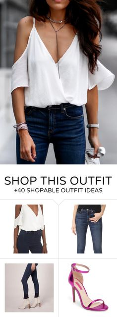 #summer #outfits  White Cold Shoulder Blouse + Navy Skinny Jeans // Shop This Outfit In The Link