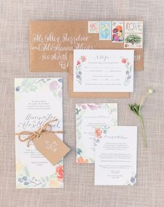 Floral + brown paper wedding invitation suite: http://www.stylemepretty.com/michigan-weddings/grand-rapids/2015/12/01/romantic-frederik-meijer-garden-wedding/ | Photography: Blaine Siesser Photography - http://blainesiesserphotography.com/