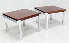 Pair of Baughmann Rosewood and Chrome Mid Century Modern End Tables