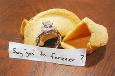How to Propose: Fortune cookie proposal     Thi would b awesome since I eat Chinese and always am waiting for the fortune cookie and have always saved every fortune :)