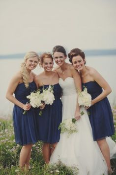 Navy Blue Bridesmaids Dresses | photography by www.acarrollphotography.net/