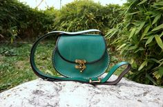 Green Oval leather messenger bag small by GalenLeather on Etsy, $39.00