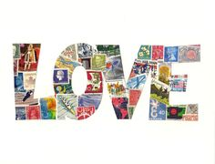 This unique word art is a collage of vibrant vintage stamps. Ready to frame, it will add quirky charm wherever you hang it and is sure to be a conversation piece. I created this original handmade collage with stamps from countries including New Zealand, Belgium, India, Russia, Costa Rica, Denmark, Germany, Canada, Spain, Yemen, Grenada, the US, and the UK.