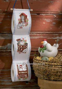 Buy Chicken Antics Toilet Roll Holder Cross Stitch Kit Online at www.sewandso.co.uk
