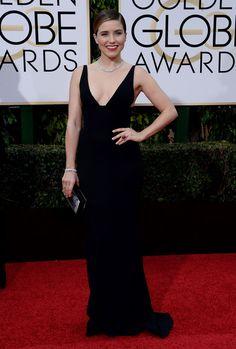 Sophia Bush au Golden Globes 2016 Sophia Bush portait une robe Narciso Rodriguez. © Abaca