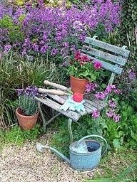 Bench & old watering can
