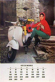 1963 Vespa calendar in french (dec) - Barbara Steele Retro Scooter, Lambretta Scooter, Vespa Scooters, Piaggio Vespa, Vespa Motorcycle, Motos Vespa, Vespa Girl, Scooter Girl, Italian Scooter