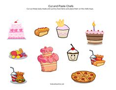 Cut and paste food for the chefs to serve http://www.kidscanhavefun.com/cut-paste-activities.htm #preschool #worksheets #kidsactivities