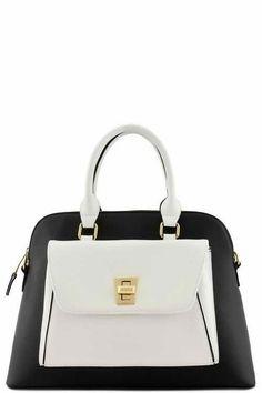 Two Tone Front Turning Lock Top Handle Designer Bag