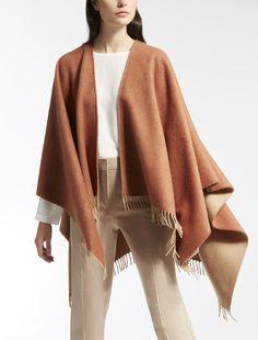 Max Mara ZAMPINO tobacco: Pure cashmere cape.