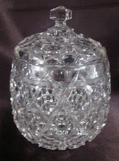 "EAPG Biscuit Cracker Jar, made by Ohio Flint Glass Co. circa 1907, ""Kriss Kross"" pattern, marked in the center bottom ""Krys-Tol"" , 8.5""H x 6""D."
