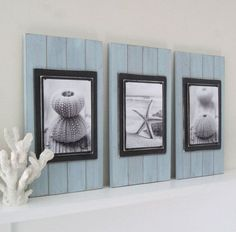 Make the wooden background...paint the wood rustic white..then take a picture of the pier with turquoise water to place in the center.  My next DIY project idea.