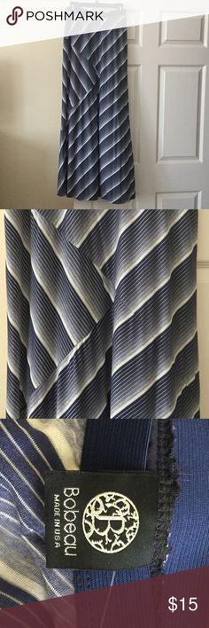 Blue and white striped maxi skirt Bobeau striped skirt. Dark blue, light blue, and white. Super comfy on! Has an elastic waist. Size m bobeau Skirts Maxi