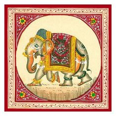Art Print: Tibetan Elephant Art Print : 13x13in Watercolor Paintings Abstract, Mural Painting, Painting Tips, Elephant Art, Indian Elephant, Mehndi Art Designs, Tibetan Art, Indian Folk Art, Madhubani Painting