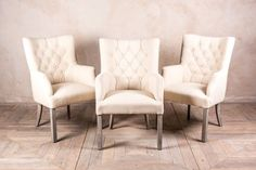 These button back French style St. Malo dining chairs/armchairs feature an opulent and rich upholstery work with a quality stone linen material. Upholstered Dining Chairs, Dining Room Chairs, French Style, Sofas, Accent Chairs, Upholstery, Armchair, Bedroom, Furniture